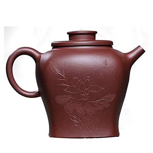 HePing Wu Teekanne handgemachte Schnitzen Quartett Mischerz lila Ton Teekanne berühmte Hand-Jade Flaschenhersteller (Color : Purple mud)