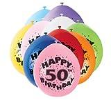50th Happy Birthday Latex Balloons 10pk