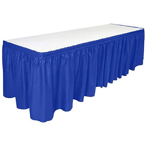DecorRack Table Skirt, 29 in x 14 ft -BPA Free- Plastic Tableskirt, Disposable, Reusable, Rectangular Tablecloth Skirt, Royal Blue (1 Pack)