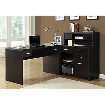 Monarch Specialties I 7018 Left or Right Facing Corner Computer Desk Hutch, Cappuccino
