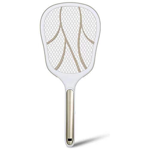 TLYS Elektrische Moskito-Klatsche wiederaufladbare Haushalt leistungsstarken Multifunktions-Elektro-Fly Hit Fliegenklatsche Kill-Moskito-Klatsche,Gold