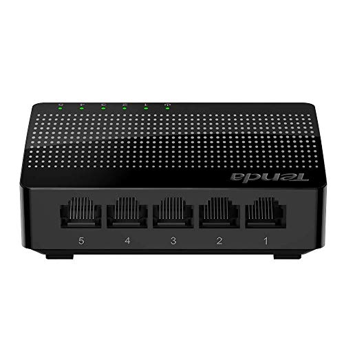 Tenda SG105 Switch de Escritorio Gigabit de 5 Puertos (Jumbo frame de 15Kb, IEEE802.3X, 5 * 10/100/1000 Mbps, Plug and Play, Gaming sin interrupciones, streaming HD, MDI/MDIX automatico)