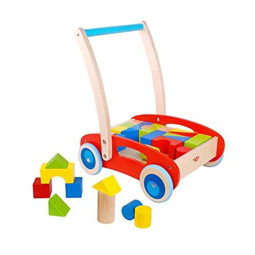 Tooky Toy Spiel-Und Lauflernwagen Bunten Bausteinen Aus Holz-Ihr Kind Lernt Spielend Leicht Das Laufen-Ca. 35 x 29 x 40 cm