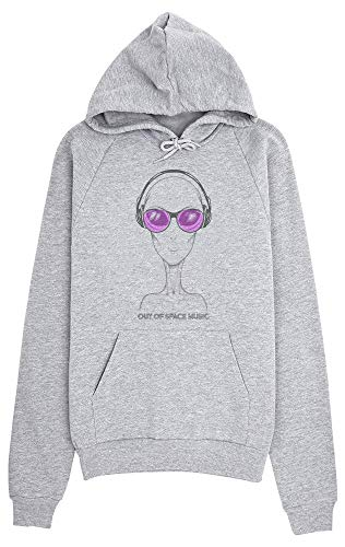idcommerce Out of Space Music Alien with Headphones Sweat a Capuche pour Femmes Small