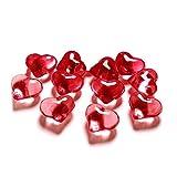 PartyDeco AH2-21-007-KARTON - 30cristales de PVC con forma de corazón, rojo