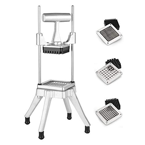 """Maihanjiaju Commercial Chopper Vegetable Dicer, French Fry Machiner ,With 3 Of Knife Head,1/2"""" +1/4"""" +3/8""""Stainless Steel Blade Quick Chopper Machine Easy for Onion Tomato Pepper Potato"""