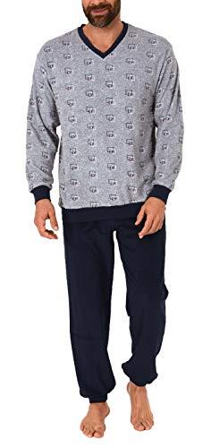 NORMANN-Wäschefabrik Herren Frottee Pyjama lang mit Bündchen - auch in Übergrössen bis Gr. 70-291 101 93 454, Größe2:58, Farbe:grau