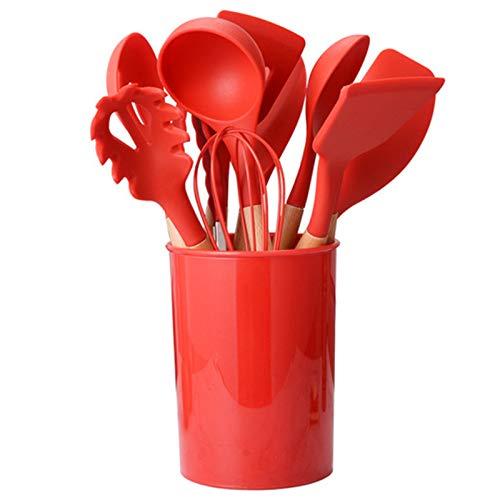 11 Piezas Rojo Espatula De Silicona Para Cocina Repostería Goma, Juego De Espatula De Silicona Para Cocina Resistente, Espatula De Silicona Para Cocina Profesional Grande Sin Bpa
