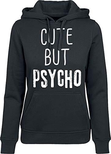Cute But Psycho Femme Sweat-Shirt à Capuche Noir L, 65% Coton, 35% Polyester, Regular/Coupe Standard