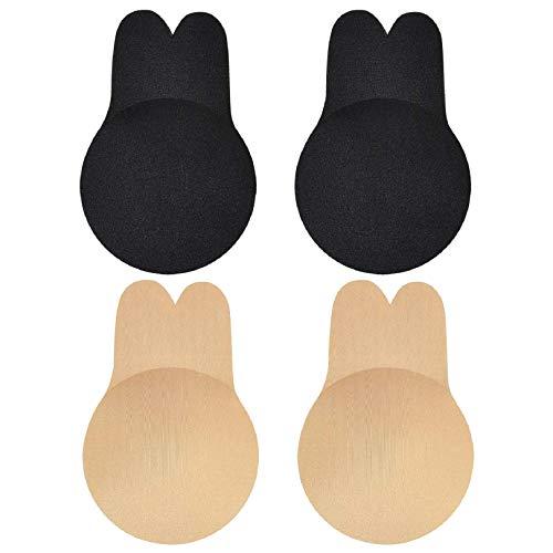 Voqeen Mujer Levantamiento de Senos Pezoneras Mejorado Silicona Push Up Breast Lift Sujetadores Adhesivos Invisibles Reutilizable Pezón Levantamiento Cubierta (Beige+Negro, DD/E Cup)