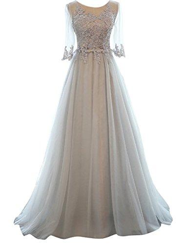Abendkleider Ballkleider Hochzeitskleider Festkleider Lang Damen Tüll Kurzarm A-Linie Grau EUR58