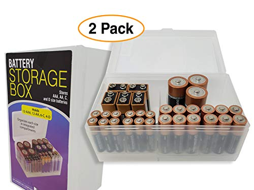 Battery Storage Organizer Box Case Holder with Hinged Clear Cover Various Sizes 2 Pack
