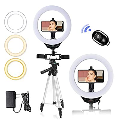 LED Selfie Ring Light with Tripod Stand and Phone Holder for Live Stream, Makeup Light Ring, YouTube Video Photography, Compatible for iPhone Android by keayeo