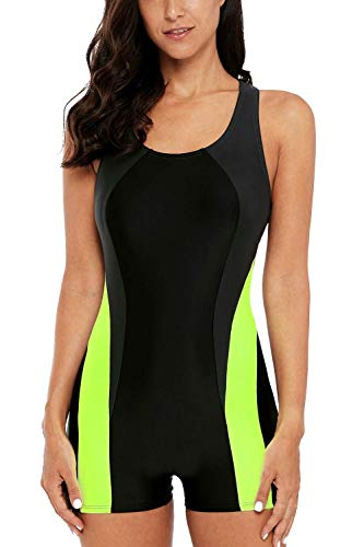 CharmLeaks Womens Sports Bathing Suit Boyleg one Piece Swimsuit Training Aerobics Swimwear