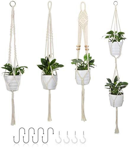 Awroutdoor Macramé Planta, 4 Piezas Colgantes Macetero de Macramé para Interior y Exterior Jardín Hogar Decoracion -129cm