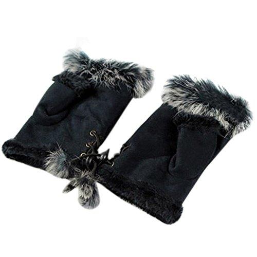Bluelans® Kunstleder Fellimitat Fingerlose Handschuhe Fellhandschuhe Damenhandschuhe Winterhandschuhe Fäustlinge Fausthandschuhe (Schwarz)