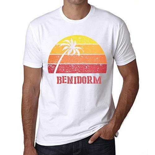 Hombre Camiseta Vintage T-Shirt Gráfico Benidorm Sunset Blanco