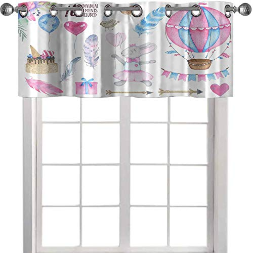 YUAZHOQI Window Curtain Valance Watercolor Happy Birthday Party Set with Bird Bunny air Balloon Garland and Flowers Bouquets Feather 54' x 18' Curtain Valances for Window Kitchen