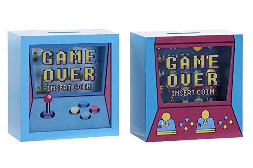 Hucha Game Over Gaming Videojuegos 2 Modelos Roja Decoración Retro Gamer Decora tu Habitación MDF Medidas - 17 cm (Azul)