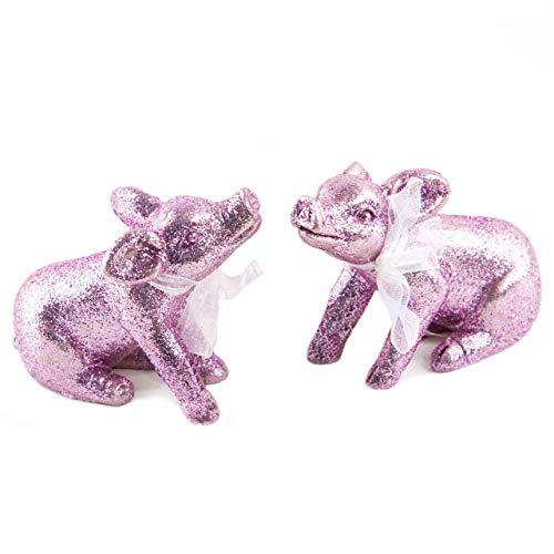 Logboek-uitgeverij geluksvarken figuren roze glinsterend paar man vrouw geluksbrenger talisman bruiloft grappig klein geschenk Kerstmis oudejaarsavond