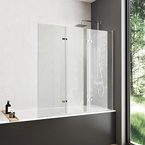 Meykoers Duschabtrennung 120x140 cm Duschwand für Badewanne, 3-teilig faltbar Badewannenaufsatz mit 6mm Nano Easy Clean Glas