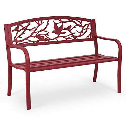 AK Energy Outdoor Steel Slat Patio Garden Park Bench Bird Tree Branch Design Garden Furniture Rose Red Color