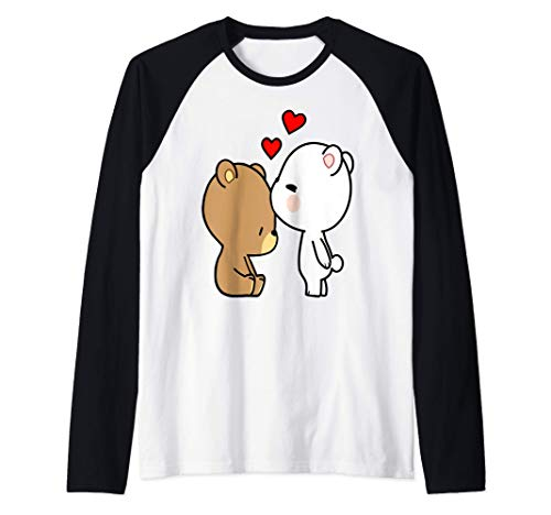 Besando a los osos Leche y Mocha amante del osito de peluche Camiseta Manga Raglan