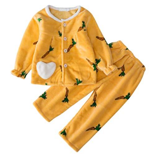 DEBAIJIA Bebé Ropa de Casa 2-12T Infantil Homewear Niños Pijama Niña Ropa de Dormir Niño Camisones Invierno Franela Calentar (Amarillo-90)