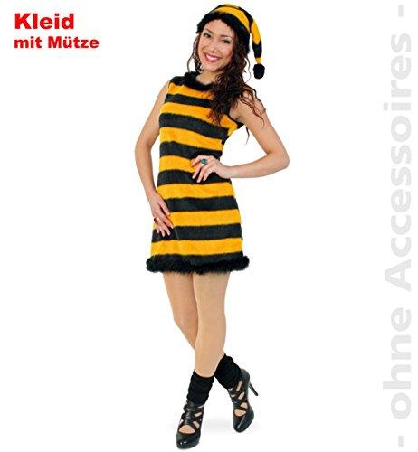 Kostüm Biene Bienenkleid Honey mit Zipfelmütze Größe 44