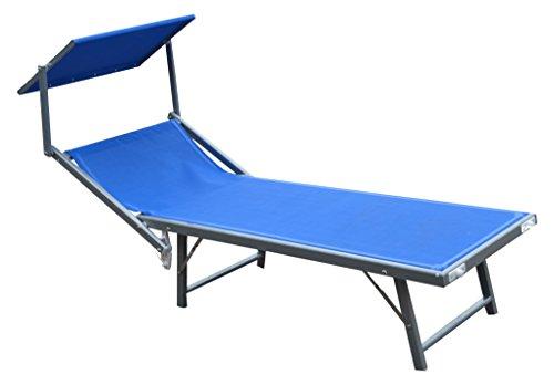 Lettino mare Ibiza In textilene 580 gr/m² Colore blu.