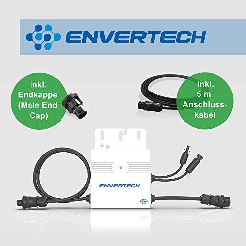 Neue Generation: Envertech SEEYES EVT300 Microinverter (Mikrowechselrichter) inkl. 5 m Anschlusskabel und Endkappe für Mini-, Balkon-, Solaranlagen/PV-Anlagen (Ausführung Betteri-Anschluss)