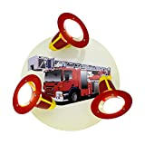 Elobra Wandlampe Kinderzimmer 'Kinderlampe Feuerwehr'   Hochwertige Deckenlampe für Jungen aus Holz - mit Feuerwehr Motiv, 30 x 30 x 18 cm - Hergestellt in Deutschland