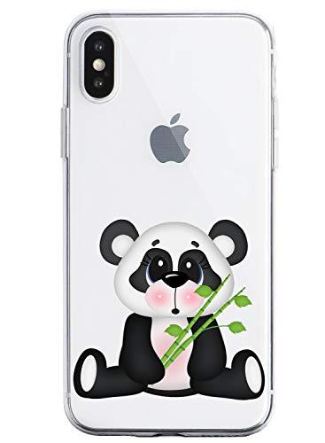 Oihxse Cristal Compatible con iPhone 6/iPhone 6S Funda Ultra-Delgado Silicona TPU Suave Protector Estuche Creativa Patrón Panda Protector Anti-Choque Carcasa Cover(Panda A2)