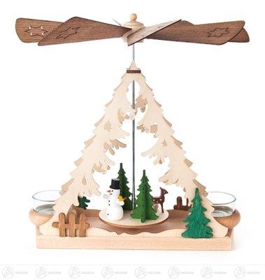 Pyramide mit Schneemann, für Teelichte Breite x Höhe x Tiefe 24,5 cmx26 cmx7,5 cm NEU Erzgebirge Tischpyramide Weihnachtspyramide