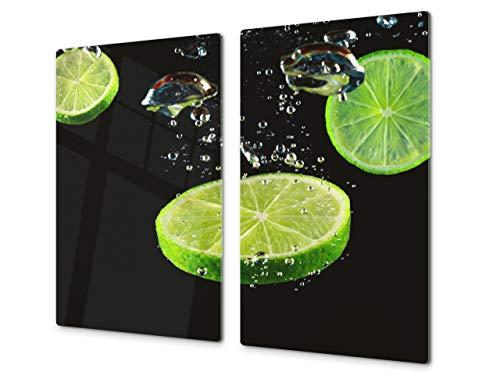 Tabla de cocina de vidrio templado - Tabla de cortar de cristal resistente – Cubre Vitro Decorativo – UNA PIEZA (60 x 52 cm) o DOS PIEZAS (30 x 52 cm); D07 Frutas y verduras: Lima 7