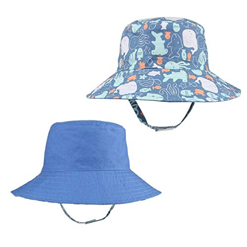 Toddler Baby Boy Sun Hat with Chin Strap Kids Summer Reversible Sunhat Fisherman Cap Wide Brim Blue