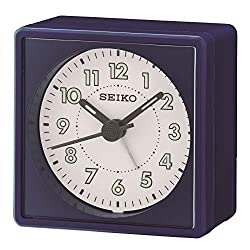 Seiko Analogue Bedside Beep Alarm Clock with Snooze - Navy Blue