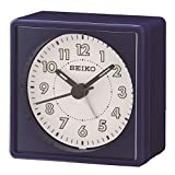 Seiko Analogue Bedside Beep Alarm Clock with Snooze - Navy Blue
