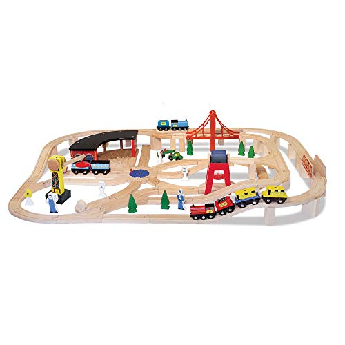 Melissa & Doug- Trains Set Ferrovia in Legno, Multicolore, 701