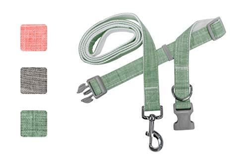 Bamboo Eco Friendly Pet Collar and Leash Combo Set & Adjustable Comfortable Soft Collar