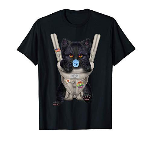 Gatto nero con ciuccio in portantina per bebè Maglietta