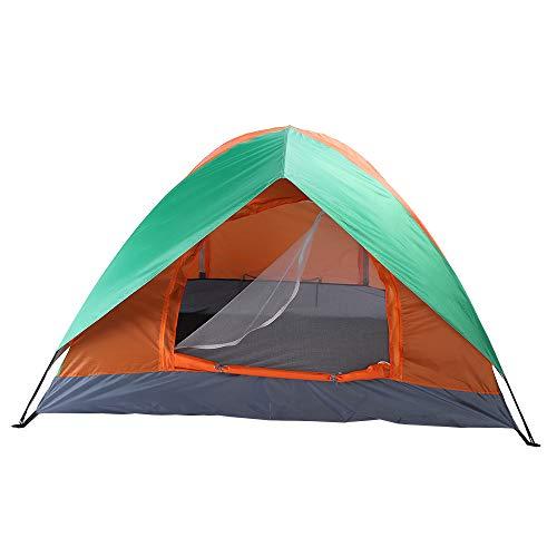 TONGMEI Tienda de campaña de doble puerta para 2 personas, camping, mochilero y senderismo, color naranja y verde (disponible en stock)