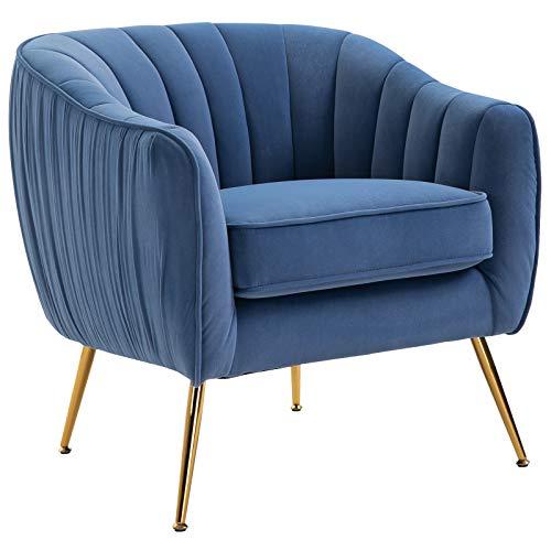HOMCOM Relaxsessel mit Armlehne, Ohrensessel, Fernsehsessel mit Metallbeinen, Sofa, Esszimmerstuhl, Plüsch, Blau, 71 x 72 x 73 cm