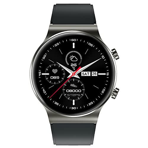 AiMoonsa Smartwatch, Batteria 250mAH Fino a 1 Settimane, SpO2, Sensore di Frequenza Cardiaca, monitoraggio del Sonno contapassi Calorie, Notifica messaggi, Smartwatch Impermeabile IP68 per Uomo