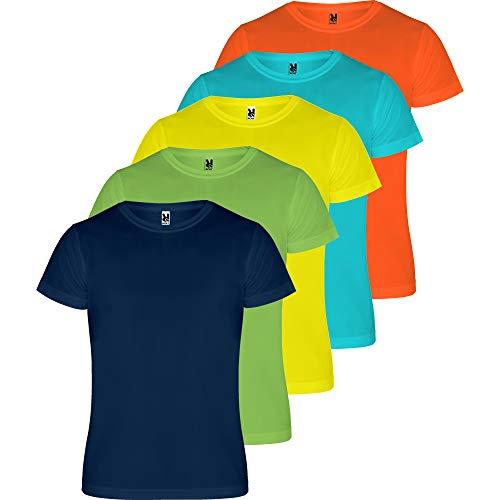 ROLY Camiseta Hombre (Pack 5) Deporte | Camiseta Técnica para Fitness o Running | Transpirable (COMBINACIÓN 2, L)