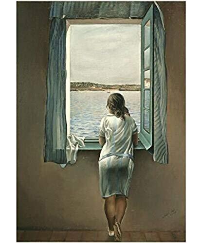 XQWZM Cartel de Imagen de Arte de Pared, Salvador Dali Mujer en la Ventana Cartel de Lienzo Decoración de Pared Pintura de habitación 40X60Cm sin Marco