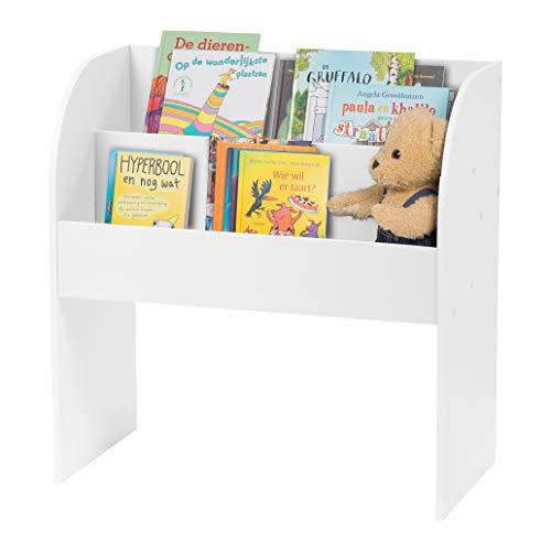 Iris Ohyama, Meuble de rangement livres et jouets / Bibliothèque pour enfants - Kids Book Shelf KBS-2 - Bois, Blanc, L67.4 x P36 x H69.8 cm