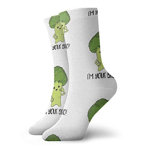huatongxin I'm Your Bro Broccoli Shirt Vegetarians Funny Vegans Girl Socks Slipper Socks For WomenFun Socks 30cm/11.8Inch