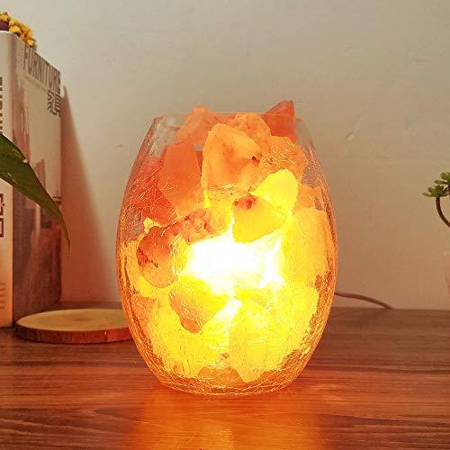 Tccic Himalaya Lámpara de sal de cristal natural de alta calidad, lámpara de noche USB de cristal ovalado, lámpara de mesa LED de noche blanca cálida