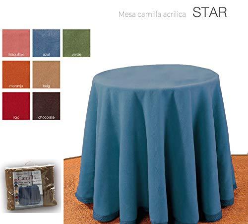 mantel Falda para Mesa Camilla Redonda Hogar Decorativa Invierno de 100% acrílico Medidas (Azul,...